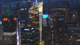 Cityscape skyline buildings at night cutaway of New York city