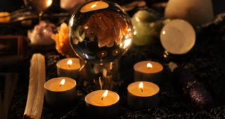 Clairvoyant mystic with crystal ball astrology reading