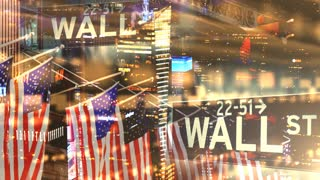 Collage montage of U.S. Stock Market Data of the Dow Jones Nasdaq S&P500