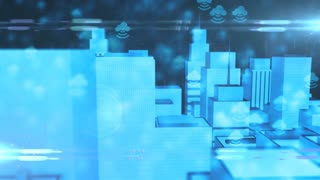 Conceptual Internet of things IOT cloud computing 5G smart city 3d render