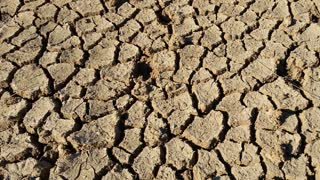 Dry cracked earth during climate change drought disaster