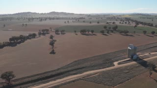 Dry drought effected rural agriculture farmland Australia - Aerial