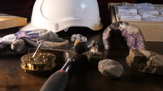 Earth Geology Science of paleontology conceptual desk setup