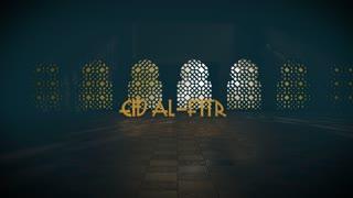 Eid al-Fitr Ramadan Kareem Islamic mosque window greeting 3D title render