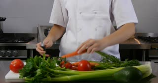 Food preparation chef working on nutritional diet in restaurant cafe