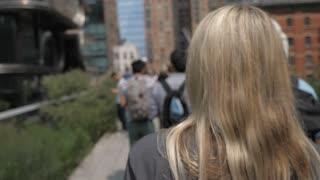 High Line, New York city park walk slow motion