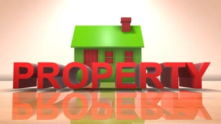 House property market for rent and home buyers 3D title animation