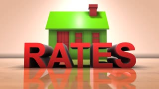 Interest rates on real estate property market and home loans 3D animation title