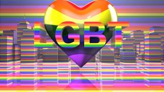 LGBT Gay Pride Mardi Gras graphic title 3D render