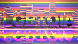 LGBTQIA Community Gay Pride LGBT Mardi Gras graphic title 3D render