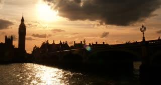 London Sunset Westminster Bridge looking at Big ben and Parliament