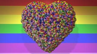Love Heart Gay Pride LGBT Mardi Gras graphic title 3D render