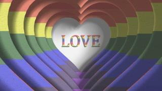 Love rainbow Gay Pride LGBT Community Mardi Gras paper cutout title 3D render