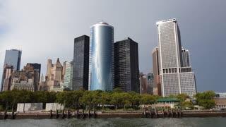Lower Manhattan, New York city skyline from river