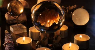 Magical voodoo witchcraft satanist spells with crystal ball