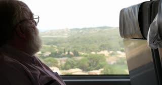 Man on eurostar train traveling through Europe
