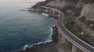 Morning Australia aerial footage sea cliff bridge coastal landscape