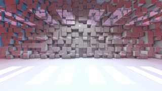Moving blocks virtual set studio backdrop digital interior 3d render