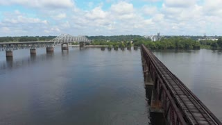 Muscle Shoals Sheffield, Alabama - Tennessee River Aerial Shot