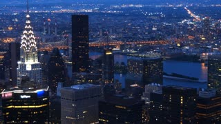 New York and Brooklyn city skyline with chrysler building panning shot