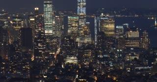 New York city aerial skyline view at night over Manhattan