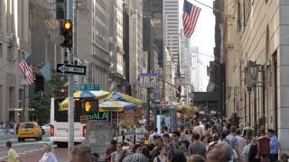 NEW YORK CITY - CIRCA 2018: Crowd of people walking on busy city street