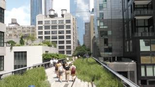 NEW YORK CITY - CIRCA 2018: High Line, New York city park walk slow motion