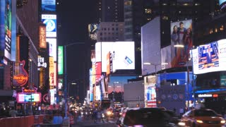 NEW YORK CITY - CIRCA 2018: New York City Times Square At Night Time-Lapse