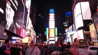 NEW YORK CITY - CIRCA 2018: Times Square At Night Time-Lapse people traffic