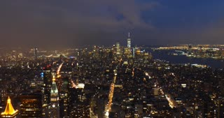 New York city night skyline of Manhattan panoramic view