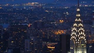 New York city skyline of Manhattan chrysler building skyscraper zoom