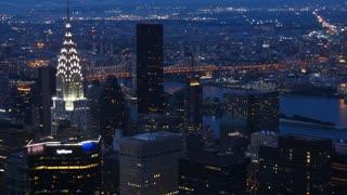 New York city skyline skyscraper cityscape panorama night zoom
