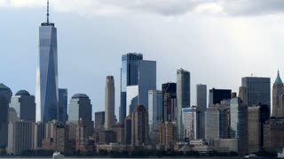 New York cityscape with World Trade Center 9/11 Patriot Day September 11