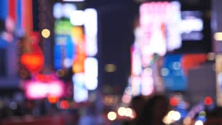 Out of focus Times Square At Night Manhattan, New York City