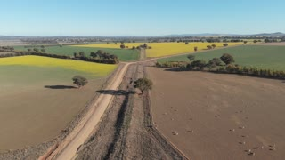 Outback crop and livestock farm country Australia aerial drone footage