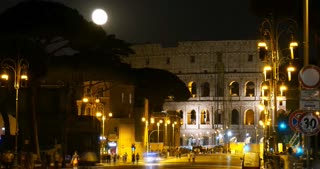 Rome Italy Night Time-lapse - Colosseum ruin of former Roman Empire