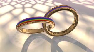 Same sex marriage couple gay pride LGBT wedding rings 3D render