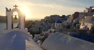 Santorini Greece sunset time lapse, Oia in Greek Islands of Aegean