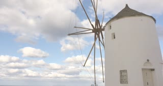 Santorini Greece - time lapse Oia white windmills of the Greek Islands Cyclades