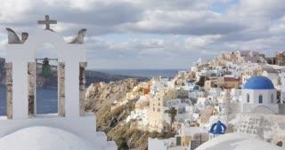 Santorini Greece time lapse, village of Oia in Greek Islands Aegean