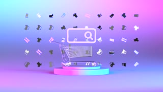 Shopping promo with cart and online retail e-commerce search colorful BG for pro