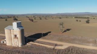 Silo aerial drone shot rural Australia agriculture farming field landscape