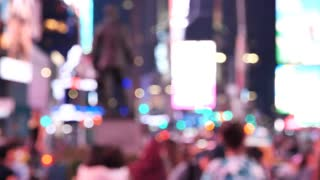 Slow motion NY Times Square At Night out of focus slow motion, New York City