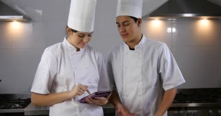 Smart device food recipe preparation chef working on nutritional diet