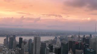 Spectacular New York city skyscraper skyline sunset timelapse