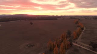 Sunset aerial farmland dry agriculture rural country Australia