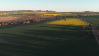 Sunset Agricultural crop field farming landscape rural Australia Aerial footage