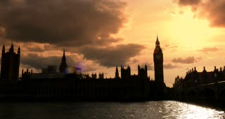 Sunset London UK Westminster Bridge looking at Big ben and Parliament