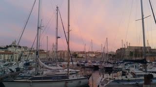 Sunset Marseille port city southern France european tourism destination
