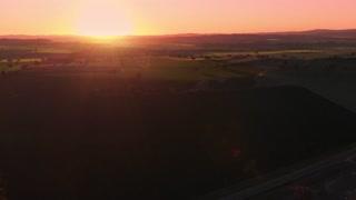 Sunset rural Australia agriculture farming field landscape - Aerial drone shot